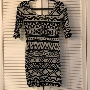 Black and cream geometric bodycon dress